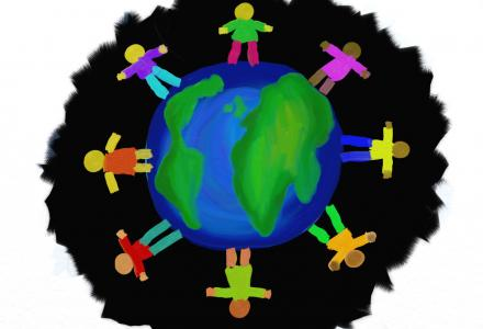 World being circled by children holding hands